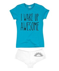 Look at this Turquoise 'I Wake Up Awesome' Tee & White Hipster on #zulily today!