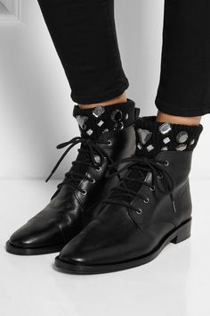 Markus Lupfer | Embellished ribbed-knit and leather ankle boots | NET-A-PORTER.COM