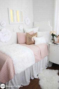 Blush, Rose Gold & Fur Dorm Bedding Set