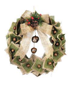 Burlap & Jingle Bell Wreath