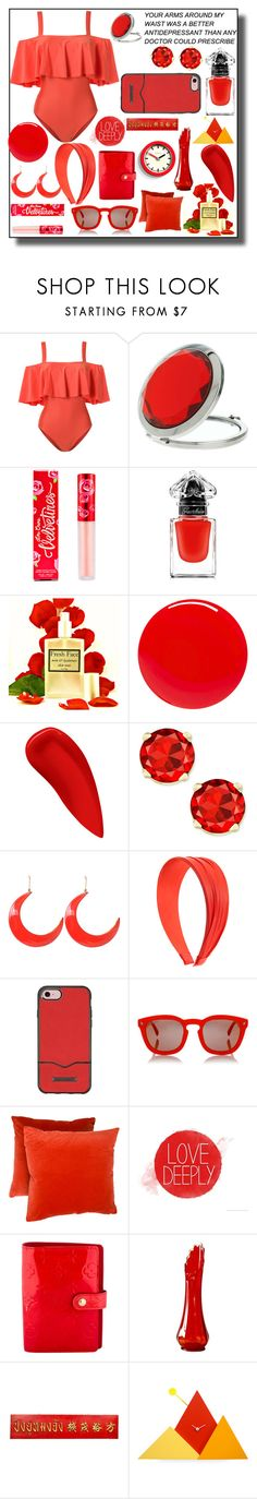 """""""Swimsuit // Red"""" by rose-chan-needs-a-life ❤ liked on Polyvore featuring ADRIANA DEGREAS, Miss Selfridge, Lime Crime, Guerlain, Tom Ford, NARS Cosmetics, STELLA McCARTNEY, Rebecca Minkoff, Dsquared2 and Louis Vuitton"""