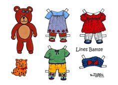 Karen`s Paper Dolls: Bear Paper Dolls Onesheet in Colours. Bamse påklædningsdukker enkeltark i farver.