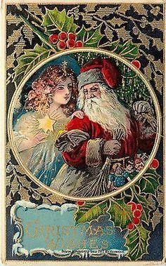 1912 Embossed PC Christmas Serie 7092 Santa, Angel & Star, Holly Vignette
