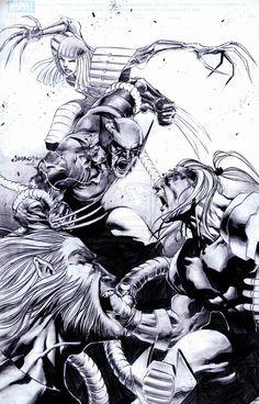 Wolverine vs Sabretooth, Omega Red and Lady Deathstrike by Jimbo02Salgado.deviantart.com on @deviantART