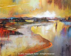 ALREDEDOR DE LA CURVA Obras de arte sobre papel texturado o lienzo  Este paisaje semi abstracto es una muestra una puesta de sol muy bien sobre este tramo de agua que evoca un sentido de una paz interior. Luz y lápiz de color pendientes brillan en el agua en esta deliciosa obra de arte.  Mano firmada por el artista - Tim Parker  ::: SEIS TAMAÑOS DIFERENTES:::  Tamaño de la imagen: 9.5 x 12,5 en papel de arte fino Tamaño de papel: 11 x 14 (print es firmado en el borde blanco) Sin marco - se…