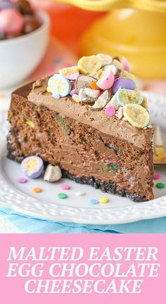 This Malted Easter Egg Chocolate Cheesecake is thick, creamy, full of chocolate and perfect for Easter! It's also decorated with my favorite Easter candy – malted eggs! Best Chocolate Desserts, Chocolate Cheesecake Recipes, Decadent Chocolate, Easter Cheesecake, Best Cheesecake, Delicious Desserts, Dessert Recipes, Easter Candy, Easter Recipes