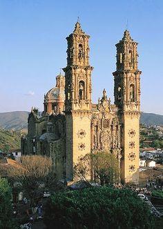 The Church of Santa Prisca in the city of Taxco de Alarcón, Guerrero, Mexico, built between 1751 and 1758.