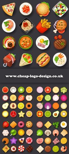 food icons suitable for recipe blogs www.cheap-logo-design.co.uk #recipe #foodicons #logodesign