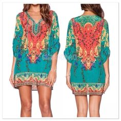 """Boho evening/beach dress... Tunic Sexy summer boho dress/tunic. Color is a nice """"pop"""". Very lightweight chiffon, the last picture shows how sheer it is. Gorgeous. Approx measurements are breast 18"""", underarm down 23"""", sleeves 16 1/2"""". Dresses"""