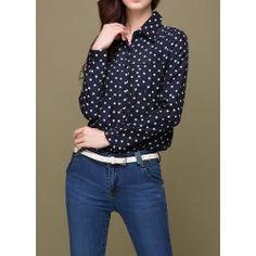 Polka Dot Shirt Neck Long Sleeve Casual Style Color Block Women's ShirtVintage Blouses   RoseGal.com