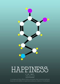 Dopamine molecule; a represent neurotransmitter. Dulls pain and encourages happiness; its that feel good sensation when you step into the sun or bite into a chocolate bar.