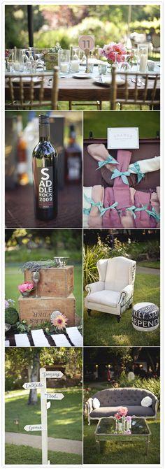 vineyard wedding decor-cute for engagement photos, photos at gardens Chic Wedding, Wedding Blog, Wedding Details, Perfect Wedding, Wedding Events, Wedding Styles, Our Wedding, Wedding Lounge, Wedding Signs