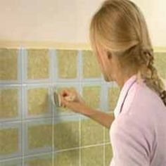 How to paint bathroom tiles - tile up to unison heights in upstairs bathroom and repaint the tiles