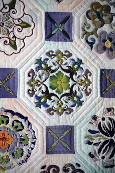 Close-up, Japanese quilt, hand appliqued and hand quilted.  Alsace, France, September 2012.  Photo by Seams French