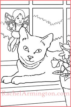Coloring page from Fairy Kids and Kittens color book shows a fairy flying outside while the cat looks the other way.