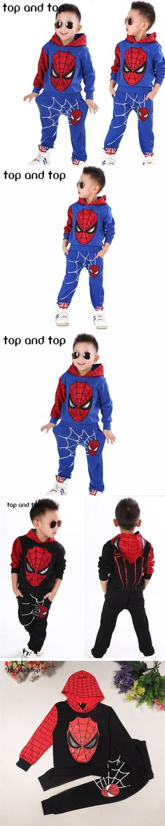 2016 Casual clothes Coat+Pant Baby Boys Spring Autumn Spiderman Sports suit 2 pieces set Tracksuits Kids Clothing sets Christmas