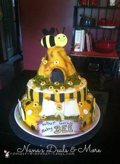 Bee Theme Gender Reveal Cake... Coolest Birthday Cake Ideas