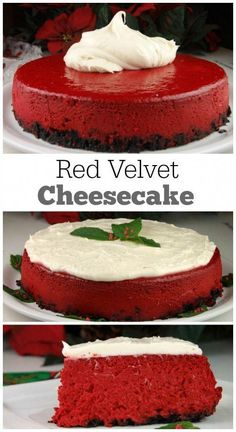Recipe for Red Velvet Cheesecake: the perfect Christmas holiday dessert recipe. So festive and delicious! Recipe for Red Velvet Cheesecake: the perfect Christmas holiday dessert recipe. So festive and delicious! Brownie Desserts, Mini Desserts, Christmas Desserts, Just Desserts, Delicious Desserts, Chocolate Desserts, Cheesecake Desserts, Easy Recipes For Desserts, Easy Cheesecake Recipes