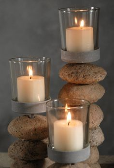 Stone Votive Candle Holders Set of 3 for $18 and a lead warning....I think I can make it myself!