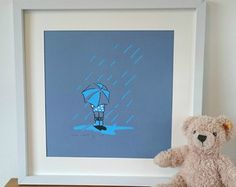 A hand pulled screen print lovingly made in Northern England.  I call this one  Muddy Cuddles which is the cute way in which my little blue girl