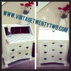 Chevron Serpentine Secretary Desk