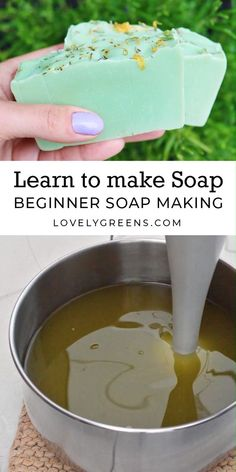 How to make Natural Soap with Lovely Greens -- soap making instructions, recipes. - How to make Natural Soap with Lovely Greens -- soap making instructions, recipes. How to make Natural Soap with Lovely Greens -- soap making instruc. Soap Making Recipes, Homemade Soap Recipes, Homemade Gifts, Cold Press Soap Recipes, Castile Soap Recipes, Beeswax Recipes, Homemade Body Lotion, Homemade Face Wash, Homemade Soap Bars