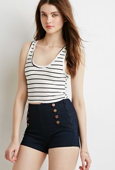 Forever 21 High-Waisted Sailor Shorts $20 : Ditch your denim cutoffs for a pair of shorts that will stand out - these high-waisted sailor shorts are a great replacement. With the visual interest of burnished button accents, mock slanted front pockets, and an exposed side zipper, these bottoms are certified head-turners.