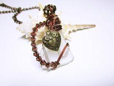 White Sea Glass Wire Wrap Pendant Necklace Heart Charm And Nautical Pendants, Nautical Jewelry, Sea Glass Necklace, Sea Glass Jewelry, Pendant Necklace, Wire Wrapped Necklace, Wire Wrapped Pendant, Stamped Jewelry, Handmade Jewelry