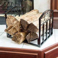 Fireplace Log Bin with Scrolls - Black by Pure Garden Log Home Decorating, Diy Home Decor, Firewood Logs, Log Home Interiors, Fireplace Logs, Log Home Plans, House Plant Care, Log Cabin Homes, Minimalist Decor