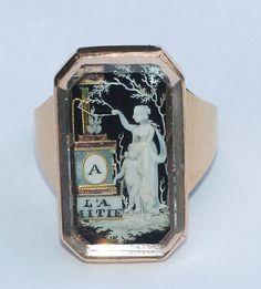 French micro-ivory ring, circa 1780 - 1790. @Mary Bokkon