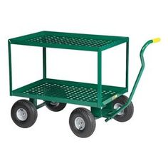 Wagon Truck, Perf Deck, 48x24, Pneum Wheel by Little Giant. $529.44. Wagon Truck, Load Capacity 1000 lb., Overall Length 50 In., Overall Width 24 In., Overall Height 36 In., Wheel Type Pneumatic, Wheel Diameter 10 In., Wheel Width 3-1/2 In., Handle Type Pull, Construction Fully Assembled Welded Steel, Gauge 12, Deck Length 48 In., Deck Width 24 In., Deck Height 36 In., Powder Coat Finish, Color Green, Includes 2 Shelves and 1-1/2 In. Lip