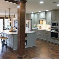 other wood columns Kitchen Redo, New Kitchen, Kitchen Remodel, Kitchen Dining, Kitchen Cabinets, Grey Cabinets, Kitchen Stuff, Dining Area, Kitchen Ideas