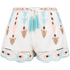 New Look White Embroidered Scallop Hem Shorts ($19) ❤ liked on Polyvore featuring shorts, white pattern, patterned shorts, scalloped edge shorts, white shorts, print shorts and tassel shorts