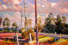"Philip Koch, Country Road, oil on canvas, 28 x 42"". The elegant rhythm of power lines, fields and clouds on an otherwise undistinguished rural road."