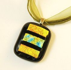 Fused Glass Pendant Gold and Black by GreenhouseGlassworks on Etsy, $20.00