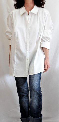 Lane Bryant NWT Cotton Long Button Down Damask Shirt Ivory Sz 3X #LaneBryant #ButtonDownShirt