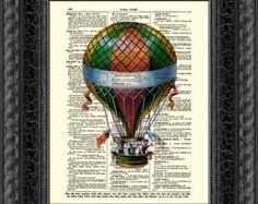 Dictionary Art Page, Hot Air Balloon Illustration, Victorian Hot Air Balloon
