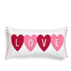 Levtex 'Love' Pillow (335 NOK) ❤ liked on Polyvore featuring home, home decor, throw pillows, pillow, white, embroidered throw pillows, white accent pillows, plush throw pillows, white home decor and white toss pillows