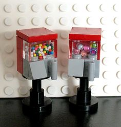 Custom Lego Gumball Machines - Just the right size for Lego Minifigs. The design is a Ginger's Gems Creation copyright. You can purchase these creations on eBay.