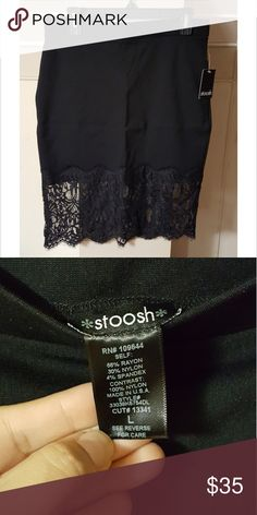 """Black Lace Pencil Skirt Brand: Stoosh. NWT. Size Large, black, elastic stretch waist, lace hem. Measurements laying flat: 16"""" waist, 18"""" hips, 17"""" wide at bottom lace hem. From the center waistline down to the bottom part of the solid black fabric its 16"""", including the lace part the total length is 23"""". Stoosh Skirts Pencil"""