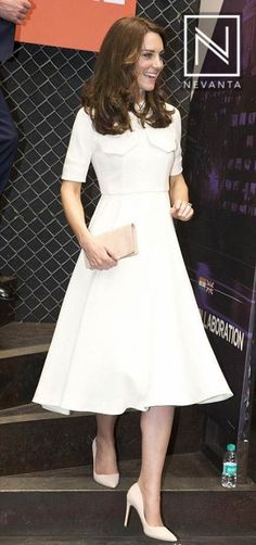 #KateMiddleton dazzled in a white #crepe #EmiliaWickstead dress with white #pumps, on their last day in #Mumbai