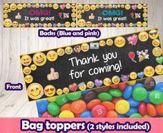 EMOJI BAG TOPPERS.Emoji printable toppers.Emoji by DecorationsLeon
