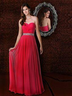 A-line Sweetheart Chiffon Floor-length Sleeveless Ruffles Prom Dresses at pickedlooks.com