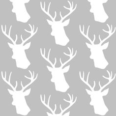 Stag Deer head pattern on grey fabric by inspirationz on Spoonflower - custom fabric