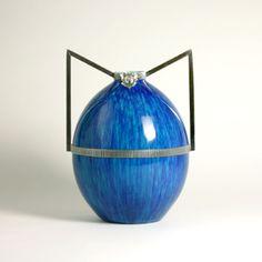Boch Frères    Vase    Manufactured by Boch Frères, La Louvière  Belgium, c. 1928  Ceramic, silver plated brass