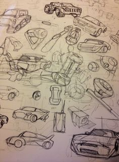 It is evident from these industrial design thumbnails that the process of sketching is for a brief and succinct documentation of ideas, which include minimal detail and effort. Such thumbnails can then be developed further through a closer examination and addition of detail.