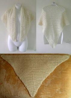 VTG 70s Cream Hand Knitted Crochet Wool Triangle Shawl Scarf Wrap Boho Festival
