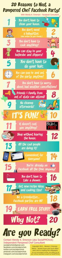 20 Reasons to Host a Pampered Chef FACEBOOK Party!  #INFOGRAPHIC