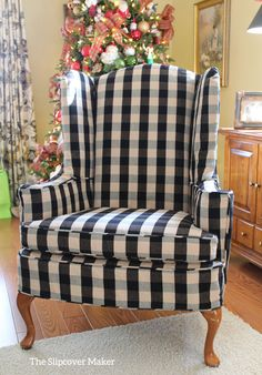 Slipcover in black and natural buffalo check for a classic wingback. natur Wing Chair Slipcover in Buffalo Check Furniture, Slipcovers For Chairs, White Furniture, Country Decor, Diy Home Decor, Affordable Home Decor, Home Decor, French Country Furniture, White Furniture Living Room
