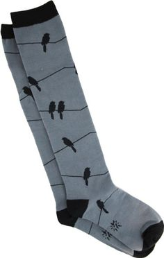 Sock It To Me Birds On A Wire Knee High Socks - More Colors!, Grey/Black, One Size:Amazon:Clothing